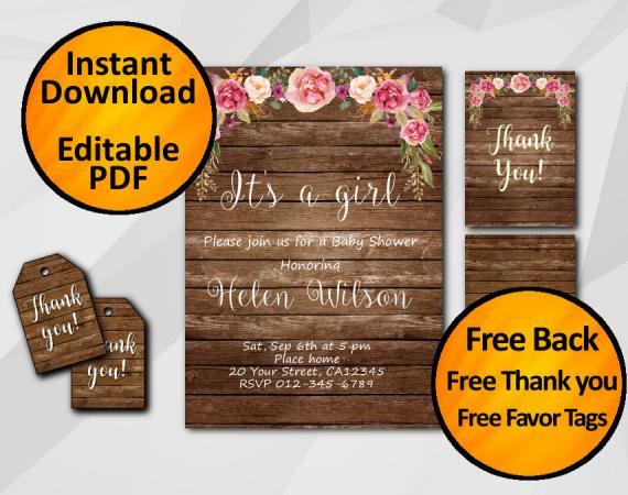 Instant Download Its a Girl Baby Shower Invitation Set