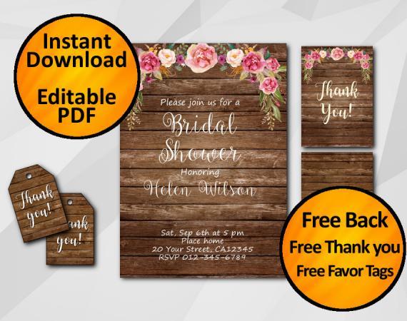 Instant Download Watercolor Wood Bridal Shower Invitation Set