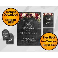 Watercolor Chalkboard Baby Shower Invitation Set