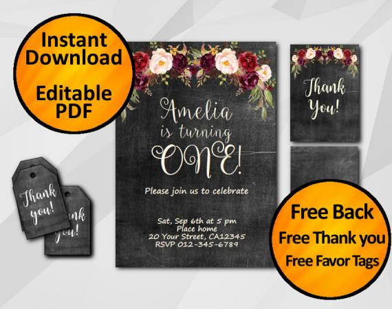 Instant Download Watercolor Chalkboard Birthday Invitation Set