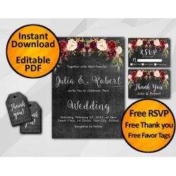 Watercolor Chalkboard Wedding Invitation Set