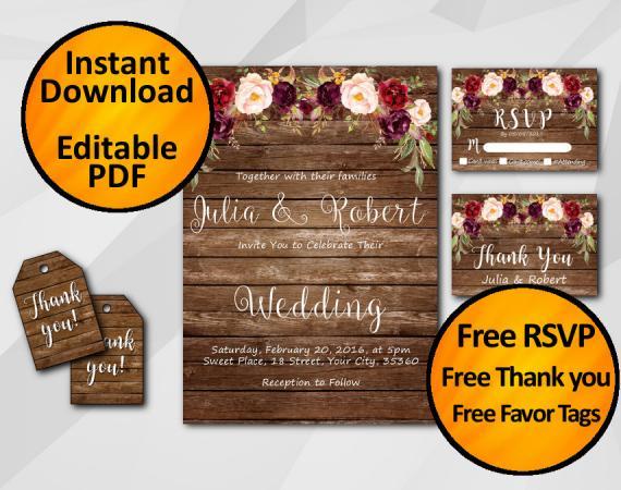 Instant Download Watercolor Wood Wedding Invitation Set