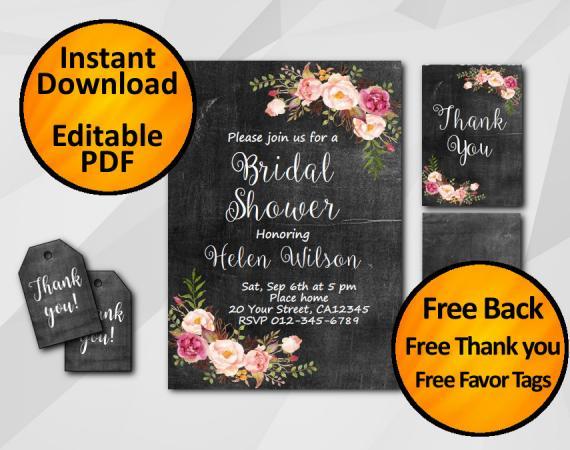 Instant Download Watercolor Chalkboard Bridal Shower Invitation Set