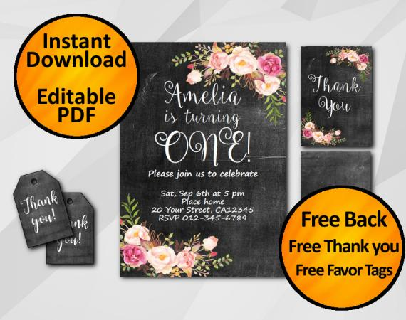 Instant Download Watercolor Chalkboard Birthday Invitation Set
