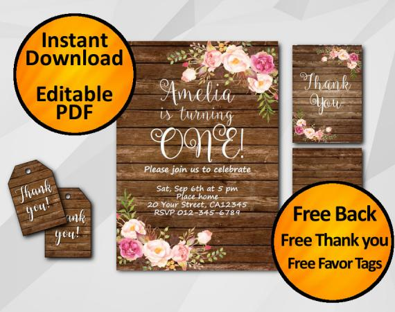 Instant Download Watercolor Wood Birthday Invitation Set