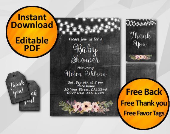 Instant Download String Lights Chalkboard Baby Shower Invitation Set