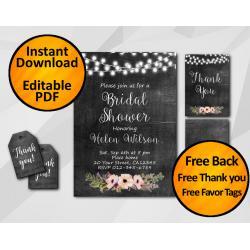 String Lights Chalkboard Bridal Shower Invitation Set
