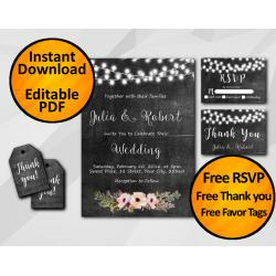 String Lights Chalkboard Wedding Invitation Set