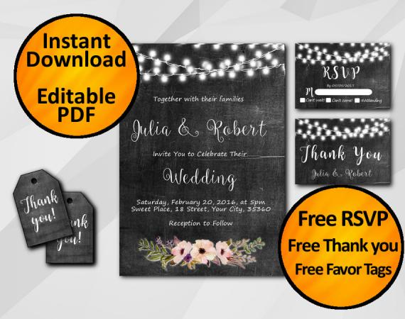 Instant Download String Lights Chalkboard Wedding Invitation Set