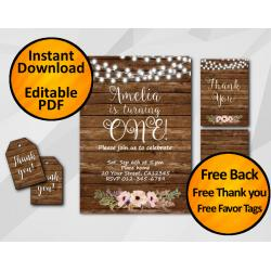 String Lights Wood Birthday Invitation Set