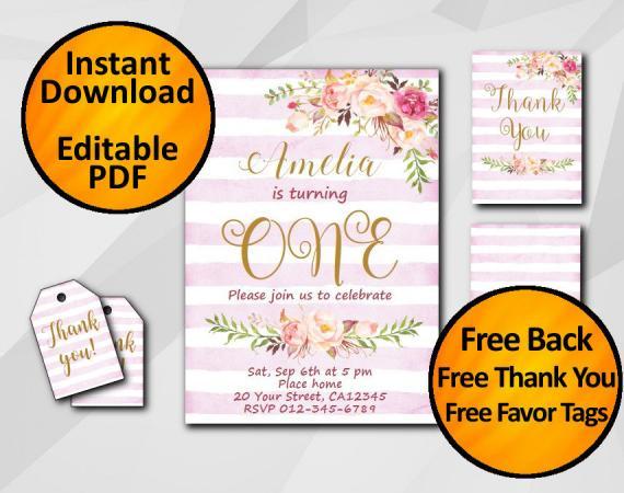 Instant Download Watercolor 1st Birthday Fuchsia Stripe Invitation set