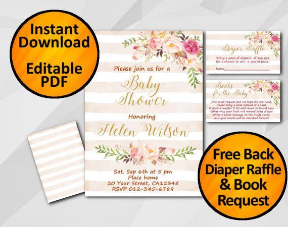 Instant Download Watercolor Baby Shower Peach Stripe Invitation set