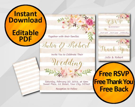 Instant Download Wedding Peach Stripe Invitation set
