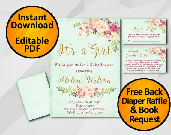 Instant Download Its a Girl Watercolor Baby Shower Turquoise Invitation set