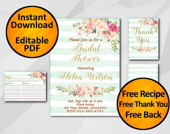 Instant Download Watercolor Bridal Shower Turquoise Stripe Invitation set