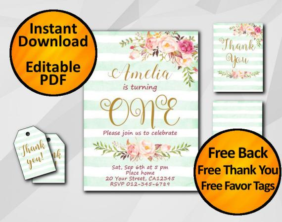 Instant Download Watercolor 1st Birthday Turquoise Stripe Invitation set