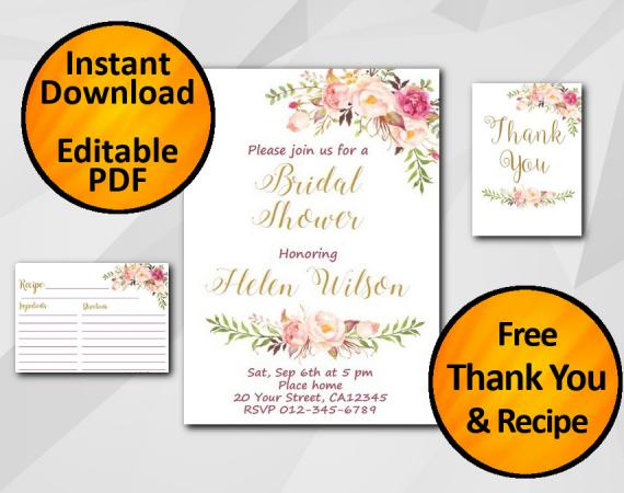 Instant Download Watercolor Bridal Shower Invitation set
