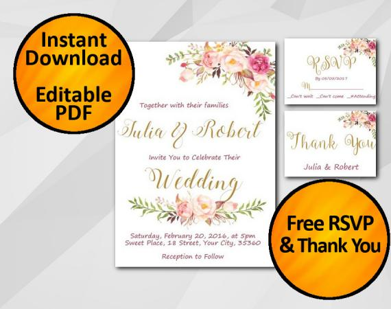 Instant Download Wedding Invitation set