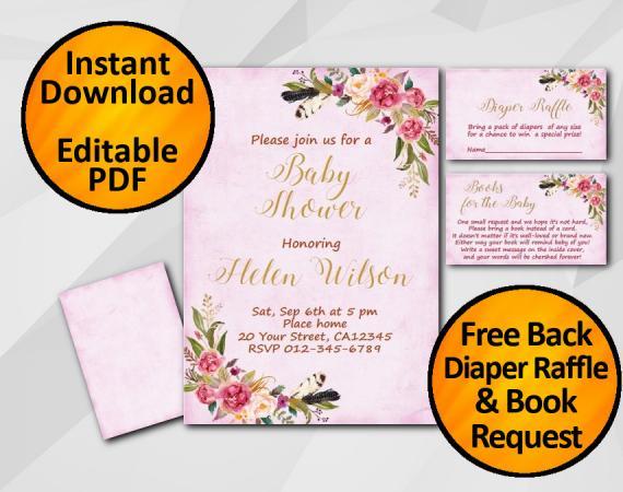 Instant Download Watercolor Baby Shower Fuchsia Invitation set