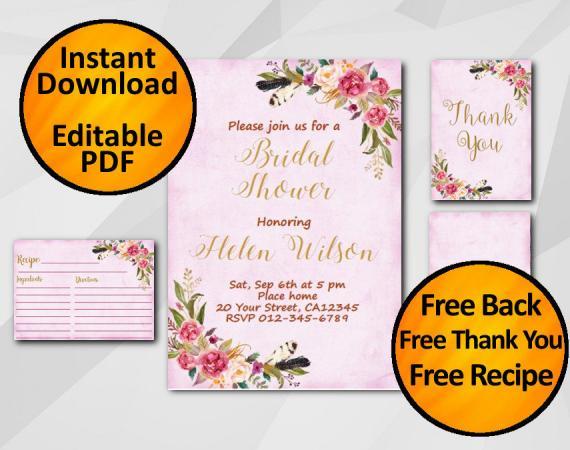 Instant Download Watercolor Bridal Shower Fuchsia Invitation set