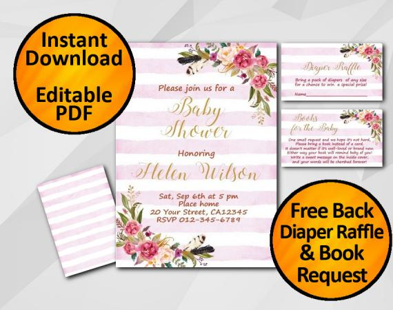 Instant Download Watercolor Baby Shower Fuchsia Stripe Invitation set