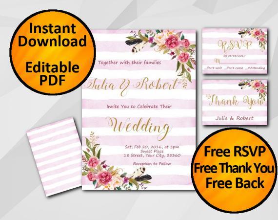 Instant Download Wedding Fuchsia Stripe Invitation set