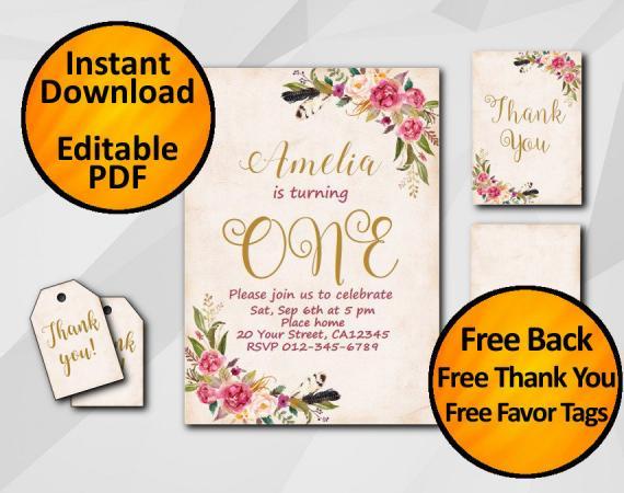 Instant Download Watercolor 1st Birthday Peach Invitation set