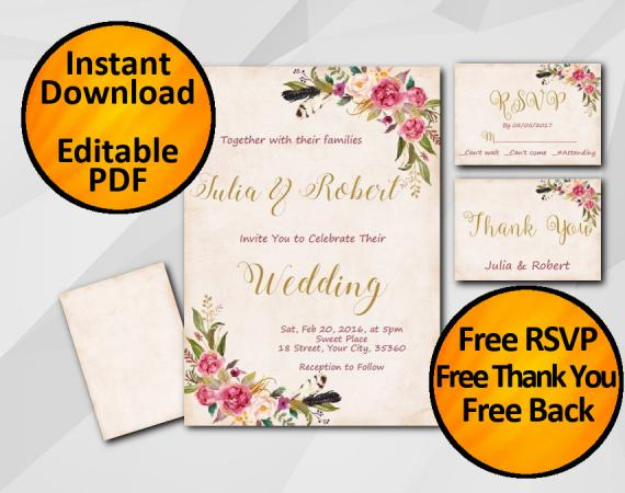 Instant Download Wedding Peach Invitation set