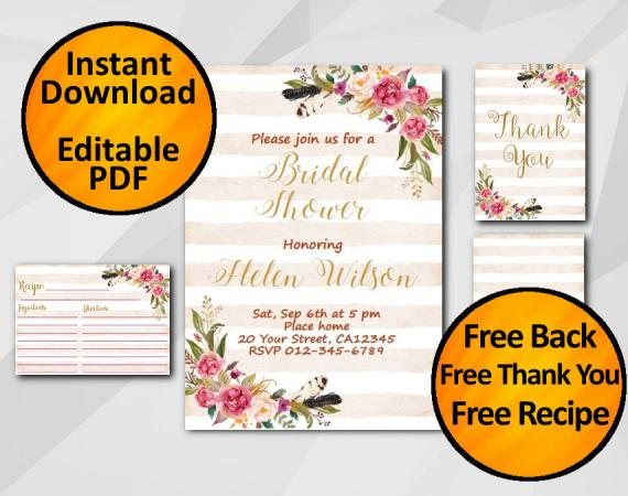 Instant Download Watercolor Bridal Shower Peach Stripe Invitation set