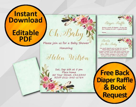 Instant Download Oh Baby Watercolor Baby Shower Turquoise Invitation set