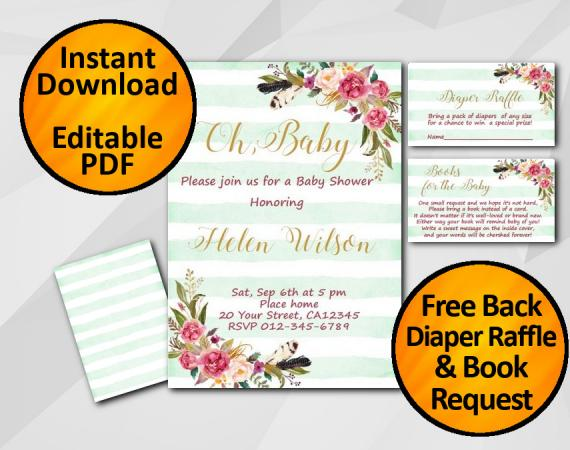 Instant Download Oh Baby Watercolor Baby Shower Turquoise Stripe Invitation set