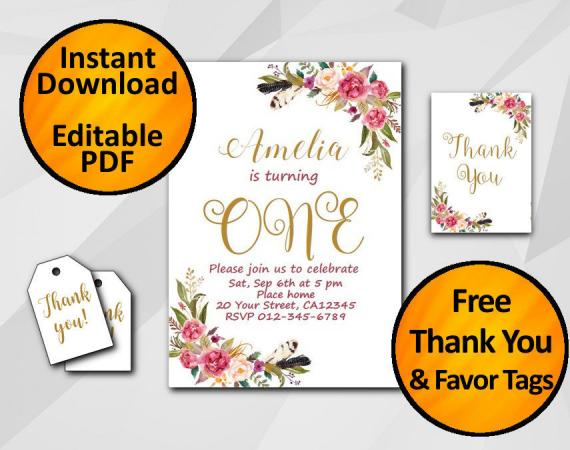 Instant Download Watercolor 1st Birthday Invitation set