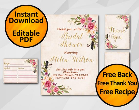Instant Download Watercolor Bridal Shower Peach Invitation set