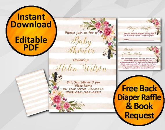 Instant Download Watercolor Baby Shower Peach Stripe Invitation set