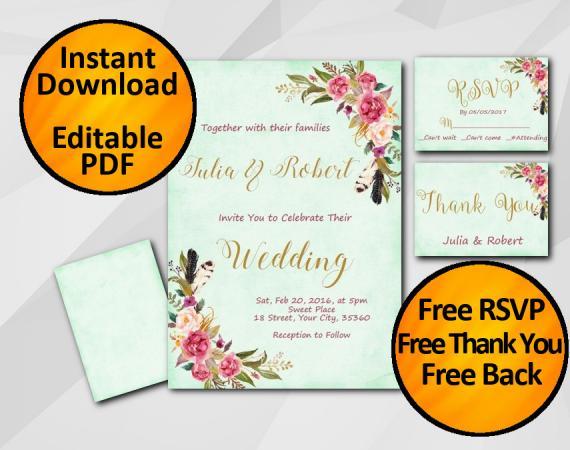 Instant Download Wedding Turquoise Invitation set
