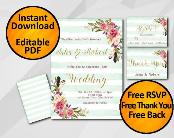 Instant Download Wedding Turquoise Stripe Invitation set