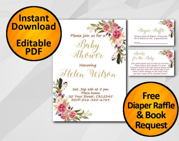 Instant Download Watercolor Baby Shower Invitation set