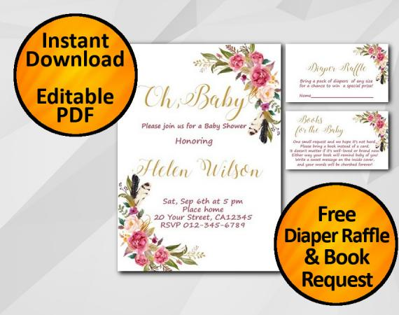 Instant Download Oh Baby Watercolor Baby Shower Invitation set