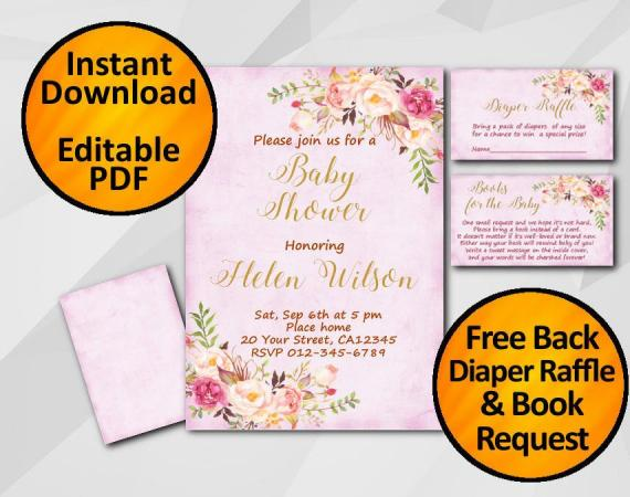 Instant Download Watercolor Baby Shower Fuchsia Invitation set
