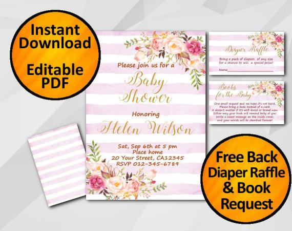 Instant Download Watercolor Baby Shower Fuchsia Stripe Invitation set