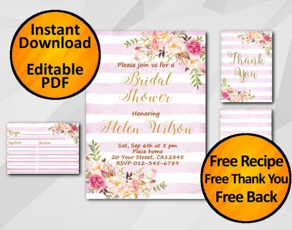 Instant Download Watercolor Bridal Shower Fuchsia Stripe Invitation set