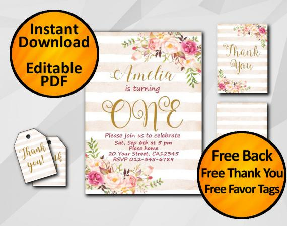 Instant Download Watercolor 1st Birthday Peach Stripe Invitation set
