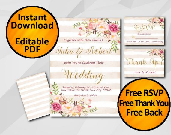 Instant Download Wedding Peach Stripe Invitation set