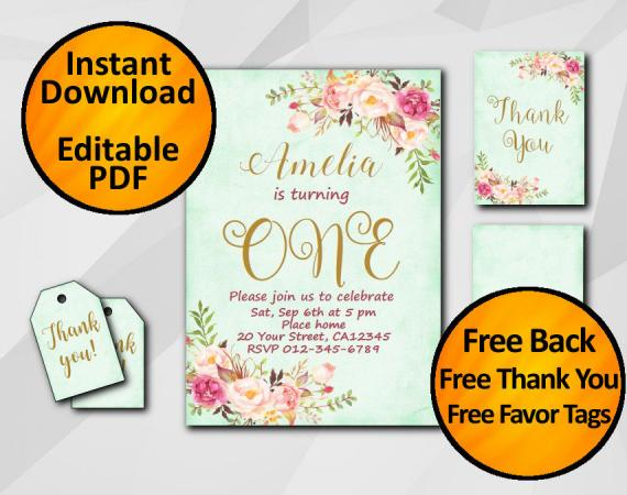 Instant Download Watercolor 1st Birthday Turquoise Invitation set