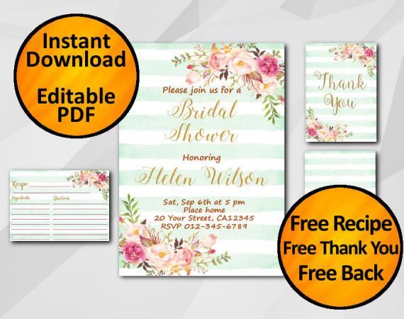 Instant Download Watercolor Bridal Shower Turquoise Stripe Invitation set
