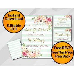 Wedding Turquoise Stripe Invitation set