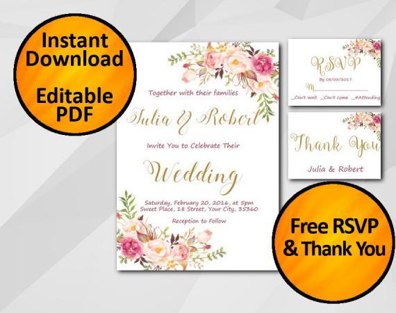 Instant Download Wedding Invitation set