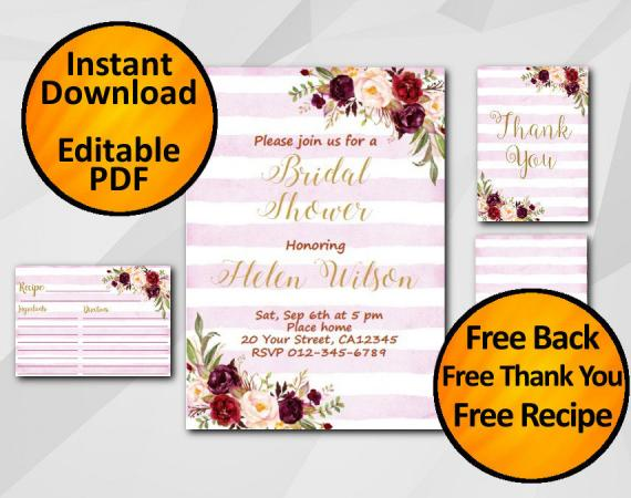 Instant Download Watercolor Bridal Shower Fuchsia Stripe Invitation set