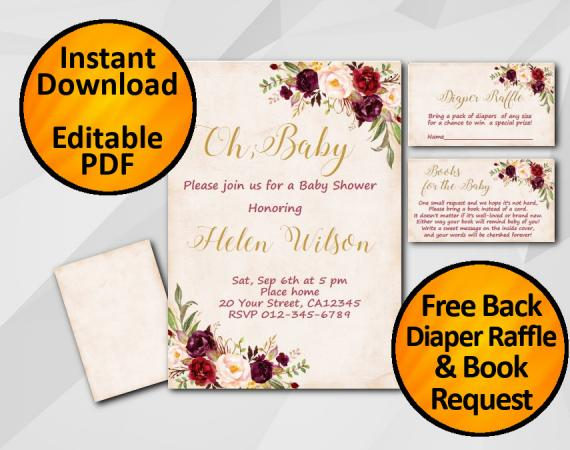 Instant Download Oh Baby Watercolor Baby Shower Peach Invitation set
