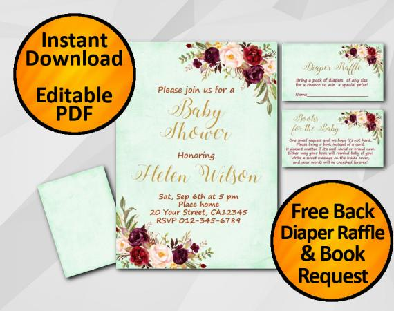 Instant Download Watercolor Baby Shower Turquoise Invitation set